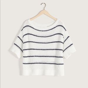 Addition elle navy and white boat neck sweater 3X